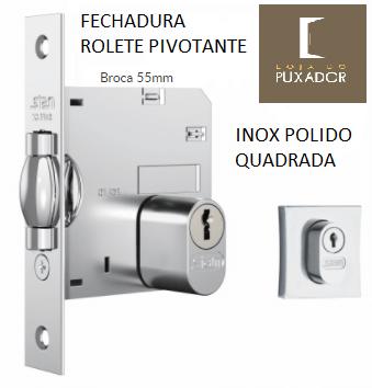 Fechadura STAM Trinco Rolete Pivotante QUADRADA CROMADO 70MM