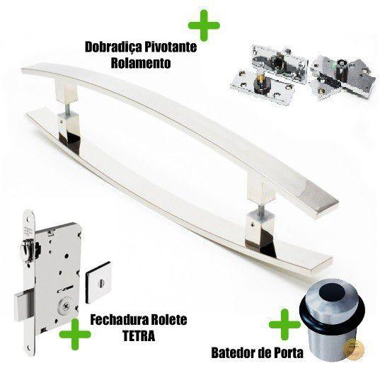 Kit Completo para Porta Pivotante - Puxador 1 Metro Curvo - LUGUI  - Loja do Puxador