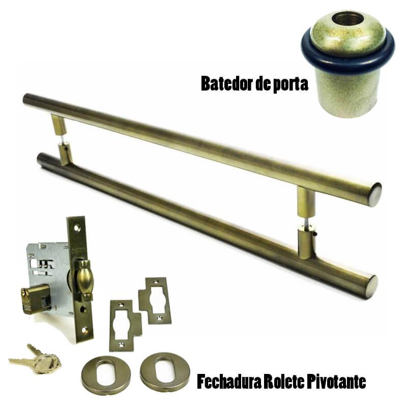 KIT Puxador Porta (GRAND SOFT) Aço Inox Antique Ouro Velho + fechadura rolete pivotante Antique Ouro Velho + Batedor/amortecedor porta Antique Ouro Velho  - Loja do Puxador