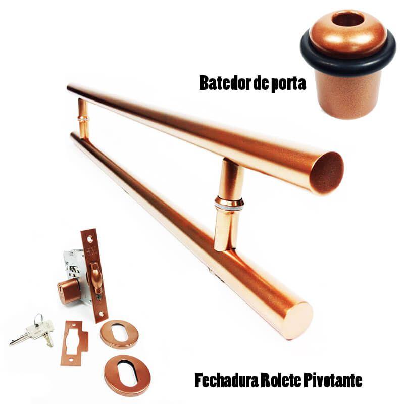 KIT Puxador Porta (GRAND SOFT) Aço Inox cobre acetinado + fechadura rolete pivotante cobre acetinado + Batedor/amortecedor porta cobre acetinado  - Loja do Puxador