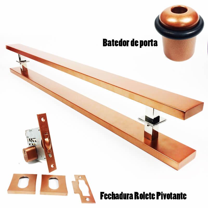 KIT PUXADOR PORTA PIVOTANTE ( GRAND CLEAN ) AÇO INOX COBRE + FECHADURA ROLETE PIVOTANTE COBRE +BATEDOR / AMORTECEDOR PORTA COBRE  - Loja do Puxador