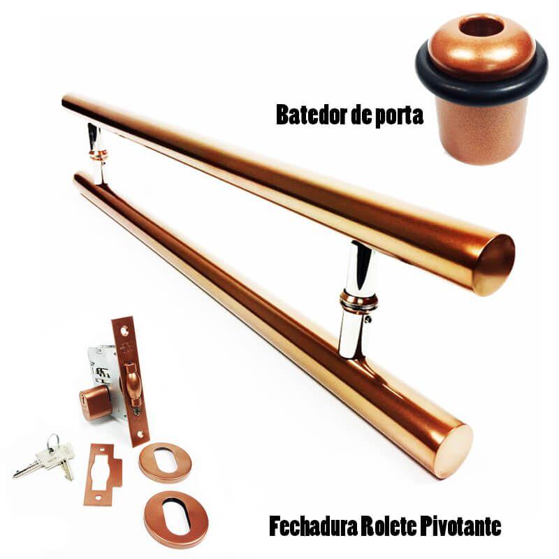 KIT Puxador Porta (PLENO) Aço Inox cobre acetinado + fechadura rolete pivotante cobre acetinado + Batedor/amortecedor porta cobre acetinado  - Loja do Puxador
