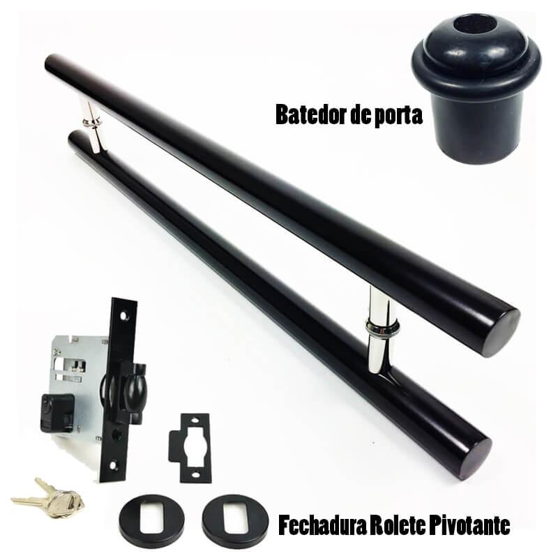 KIT Puxador Porta (PLENO) Aço Inox PRETO + fechadura rolete pivotante PRETO + Batedor/amortecedor porta PRETO  - Loja do Puxador