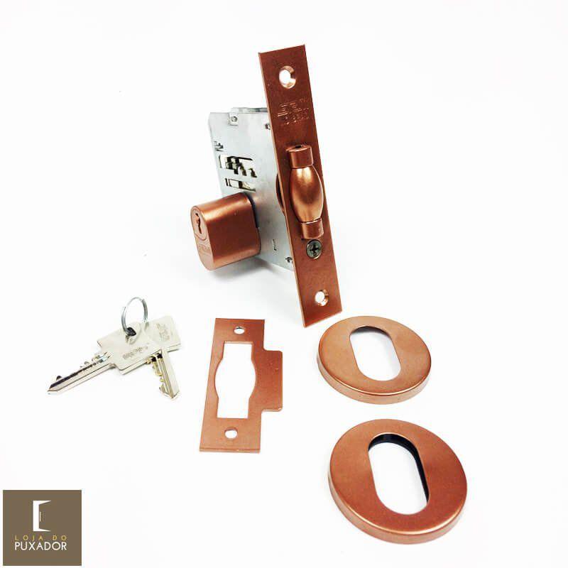KIT Puxador Porta (SOFT) Aço Inox cobre acetinado + fechadura rolete pivotante cobre acetinado +Batedor/amortecedor porta cobre acetinado  - Loja do Puxador