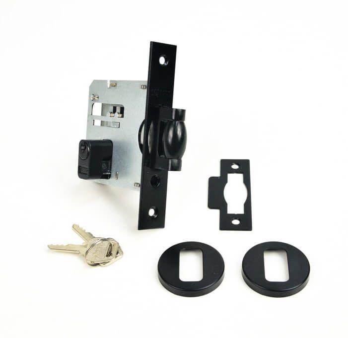 KIT Puxador Porta (SOLARES) Aço Inox PRETO + fechadura rolete pivotante PRETO + Batedor/amortecedor porta PRETO  - Loja do Puxador
