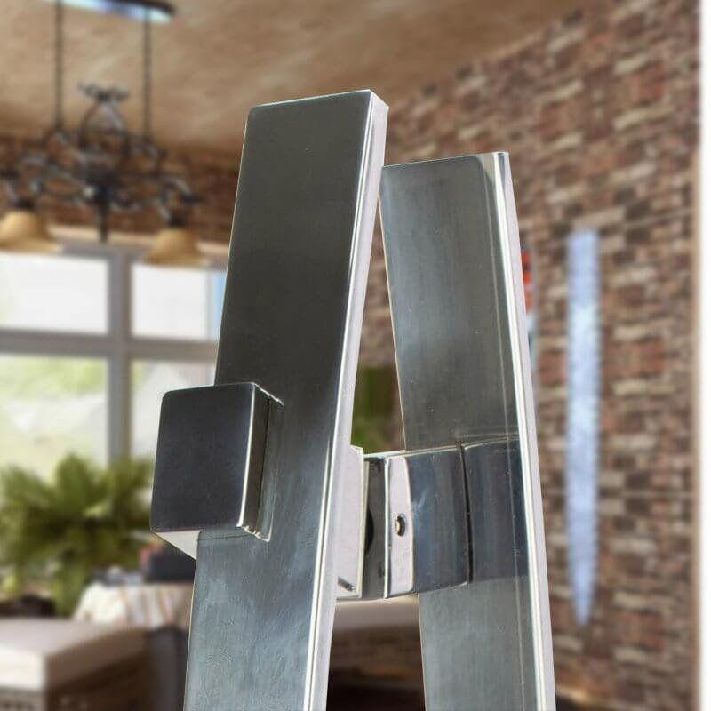Puxador Aço Inox Polido/Cromado Para Porta Vidro Temperado Blindex (ALBA)  - Loja do Puxador
