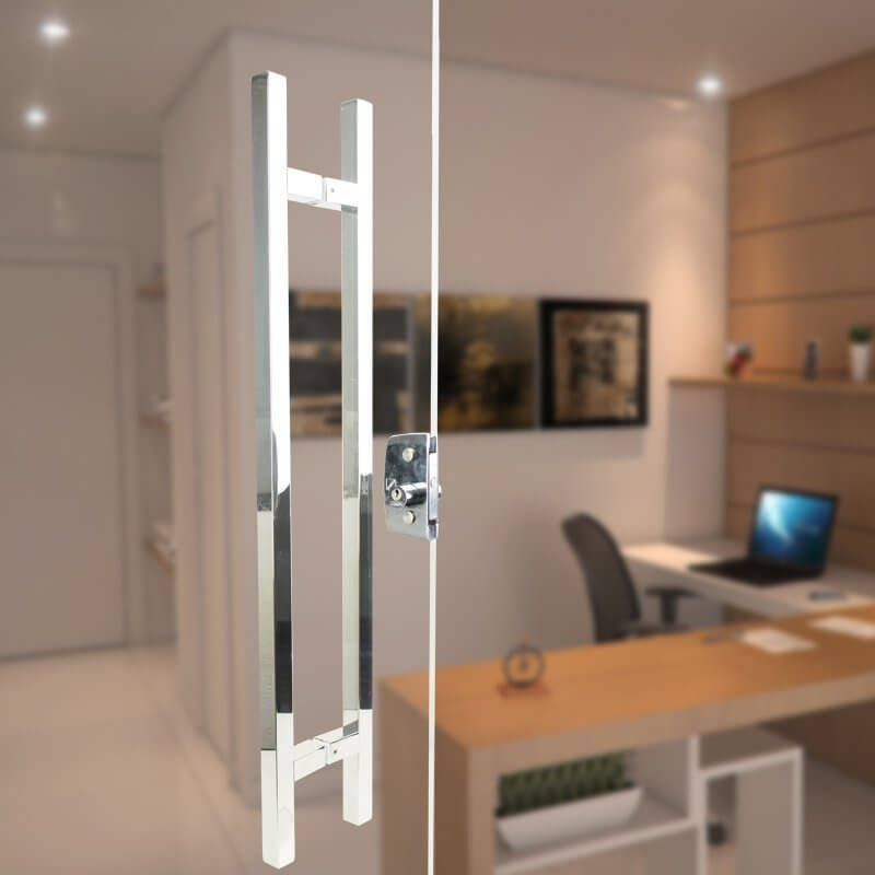 Puxador Aço Inox Polido/Cromado Para Porta Vidro Temperado Blindex (ARISTOCRATA)  - Loja do Puxador