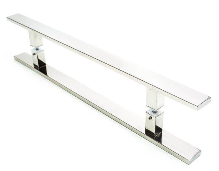 Puxador Aço Inox Polido/Cromado Para Porta Vidro Temperado Blindex (CLEAN)  - Loja do Puxador
