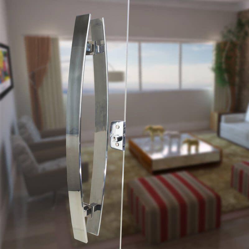 Puxador Aço Inox Polido/Cromado Para Porta Vidro Temperado Blindex (GRAND LUGUI EXTRA GRANDE)  - Loja do Puxador