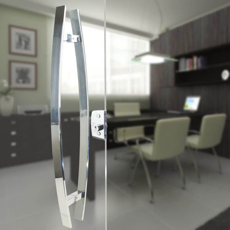 Puxador Aço Inox Polido/Cromado Para Porta Vidro Temperado Blindex (LUGUI)  - Loja do Puxador