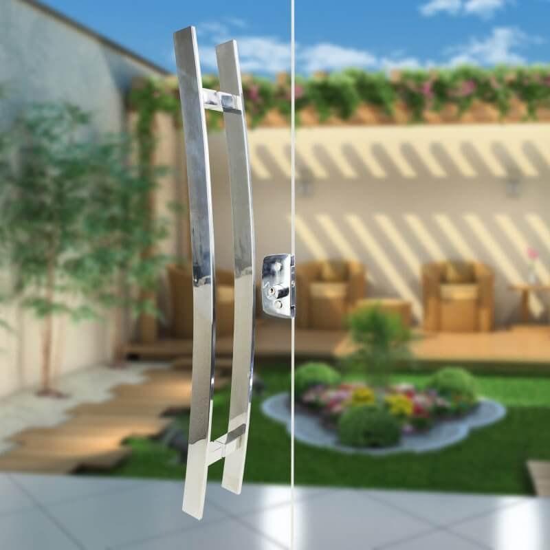 Puxador Aço Inox Polido/Cromado Para Porta Vidro Temperado Blindex (NOVITÁ)  - Loja do Puxador