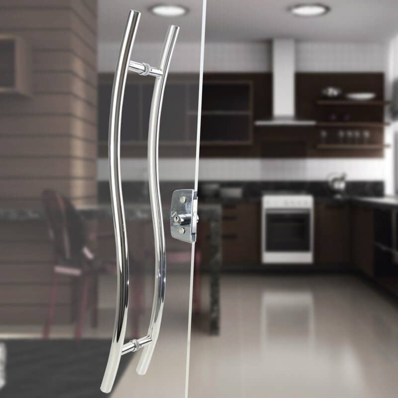 Puxador Aço Inox Polido/Cromado Para Porta Vidro Temperado Blindex (SAFIRA)  - Loja do Puxador