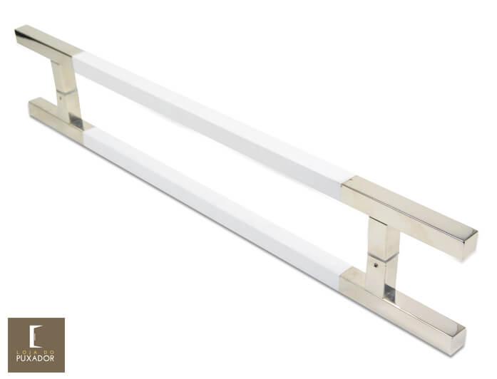 Puxador para Porta Duplo em Aço Inox Modelo Aristocrata Polido com Detalhes em Branco