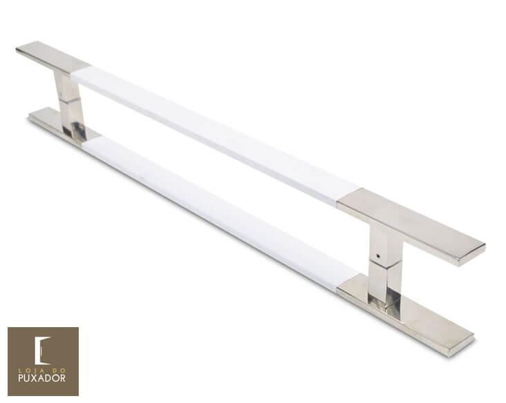 Puxador para Porta Duplo em Aço Inox Modelo Clean Polido com Detalhes em Branco