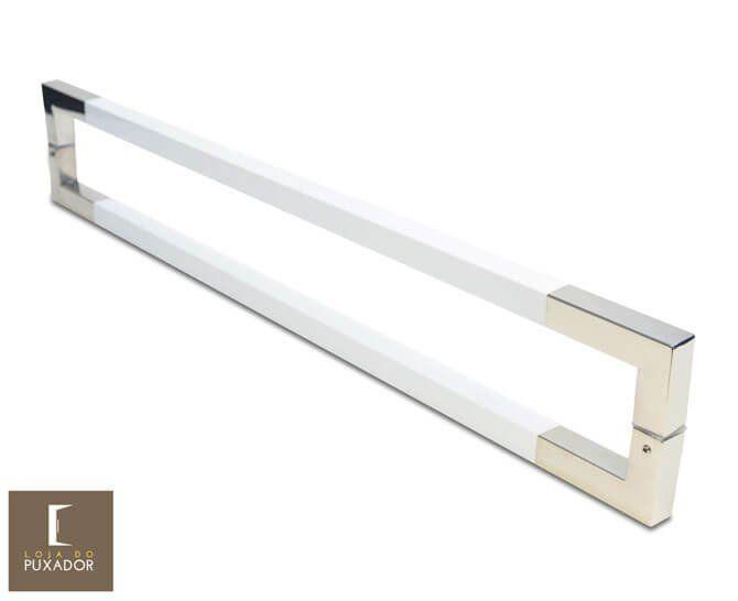 Puxador para Porta Duplo em Aço Inox Modelo Slin Polido com Detalhes em Branco