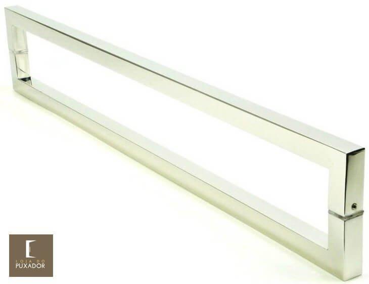 Puxador Para Portas Duplo 100% AÇO INOX 304 ESCOVADO (SLIN). Puxador tubular Quadrado reto 2,5 cm x 2,5 cm pé em trave nas pontas.  - Loja do Puxador