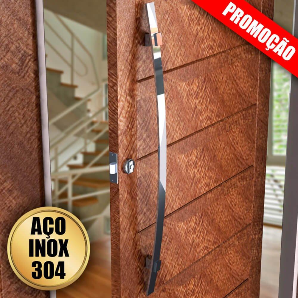 Puxador Para Portas Duplo 100% AÇO INOX 304  POLIDO (ALBA). puxador curvo formato em arco frontal barra chata 4 cm largura x 1 cm espessura