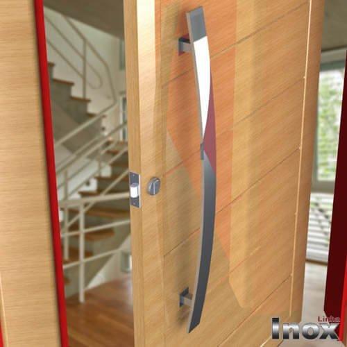 Puxador Para Portas Duplo 100% AÇO INOX  304 POLIDO EXTRA LARGO (GRAND LUGUI).puxador barra chata curvo frontal  7 cm largura x 2 cm espessura    - Loja do Puxador