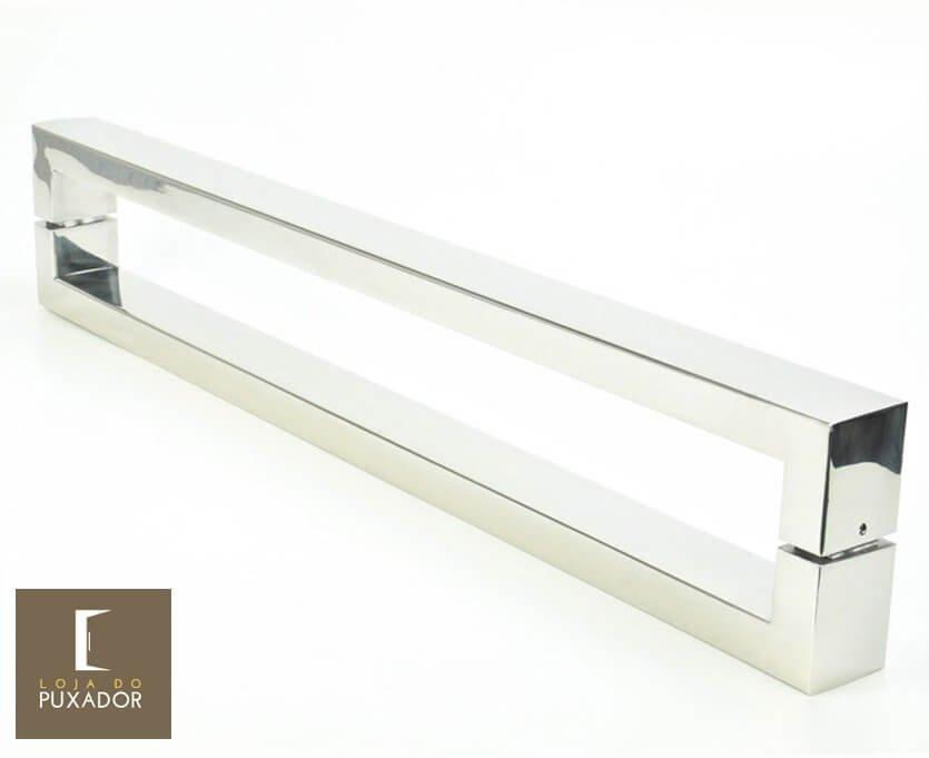 Puxador Para Portas Duplo 100% AÇO INOX 304  POLIDO extra largo (HÉRCULES). Puxador tubular retangular reto 6 cm largura x 3 cm espessura