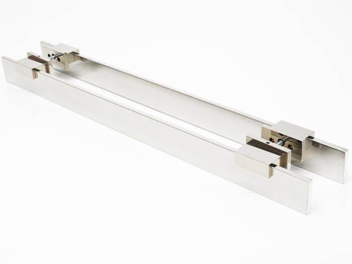 Puxador Para Portas Duplo 100%  AÇO INOX 304 POLIDO EXTRA LARGO (TAURUS) puxador barra chata reto  7 cm largura x 2 cm espessura  pés especiais   - Loja do Puxador