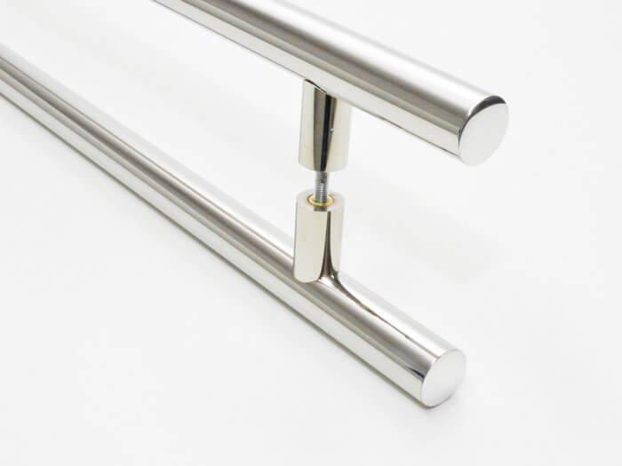 Puxador Para Portas Duplo 100 % AÇO INOX 304  POLIDO (GRAND SOFT). Puxador grande porte reto tubo grosso 32 mm diâmetro   - Loja do Puxador