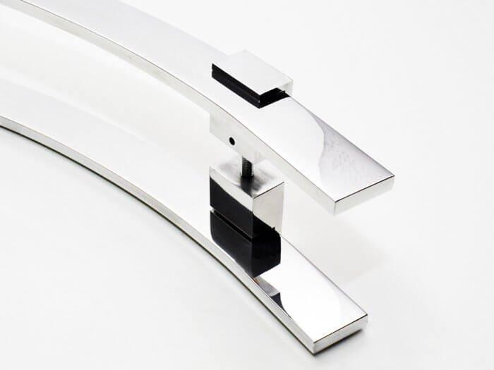 Puxador Para Portas Duplo AÇO INOX 304  POLIDO (PAOLA).  - Loja do Puxador