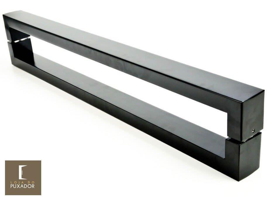 Puxador Para Portas Duplo 100% AÇO INOX 304 PRETO EPOXI extra largo (HÉRCULES). Puxador tubular retangular reto 6 cm largura x 3 cm espessura   - Loja do Puxador