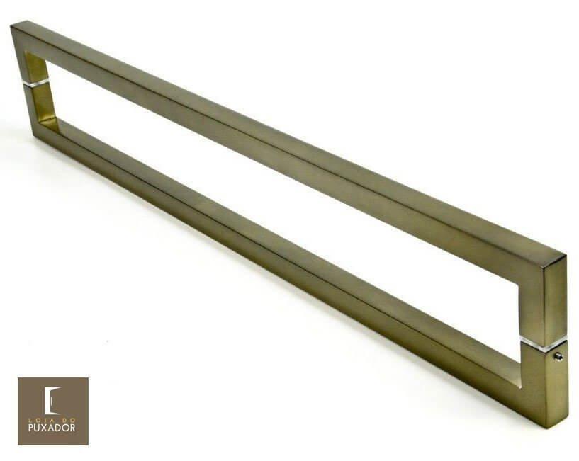 Puxador Para Portas Duplo AÇO INOX OURO VELHO ANTIQUE (SLIN).   - Loja do Puxador