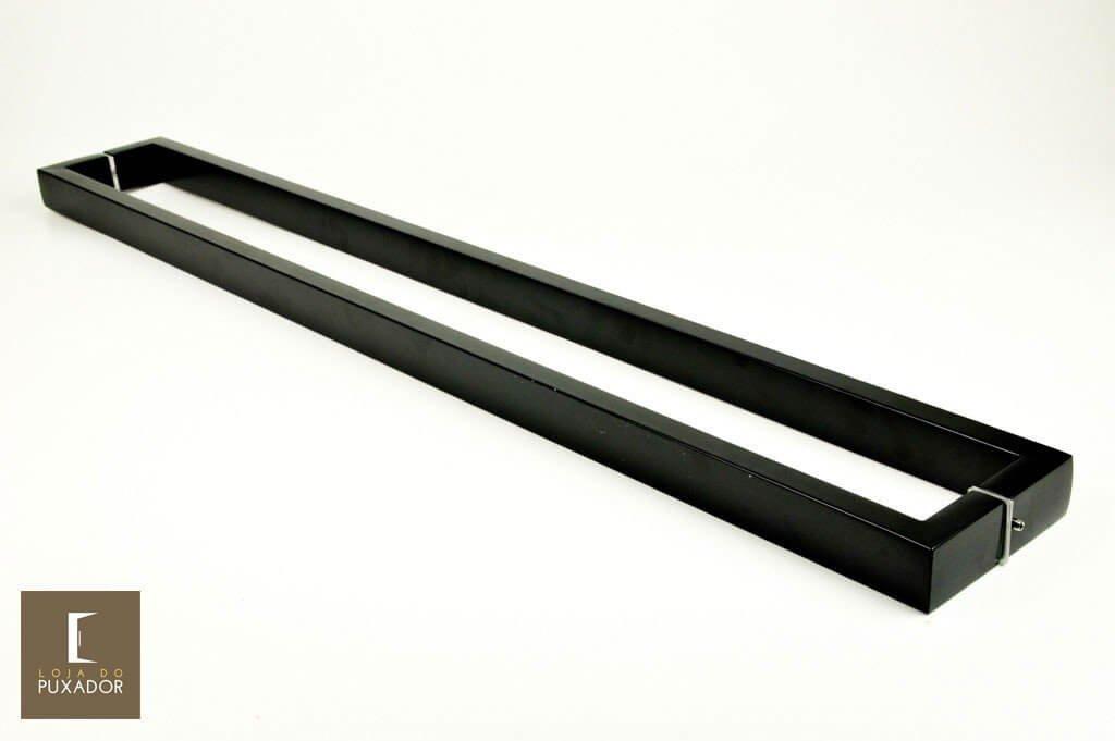 Puxador Para Portas Duplo AÇO INOX EPOXI PRETO (GRECO). Para portas Pivotante /Madeira /Vidro/Alumínio .  - Loja do Puxador