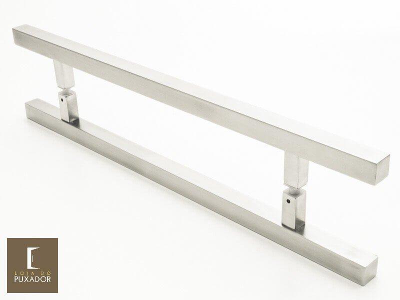 Puxador Para Portas Duplo AÇO INOX ESCOVADO (ARISTOCRATA). Para portas Pivotante /Madeira /Vidro/Alumínio .