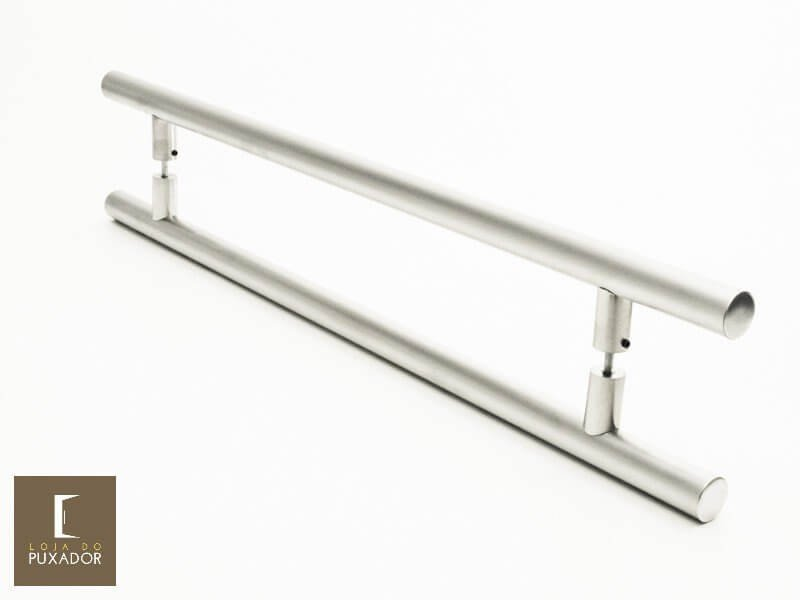 Puxador Para Portas Duplo AÇO INOX ESCOVADO (GRAND SOFT). Para portas Pivotante /Madeira /Vidro/Alumínio .  - Loja do Puxador