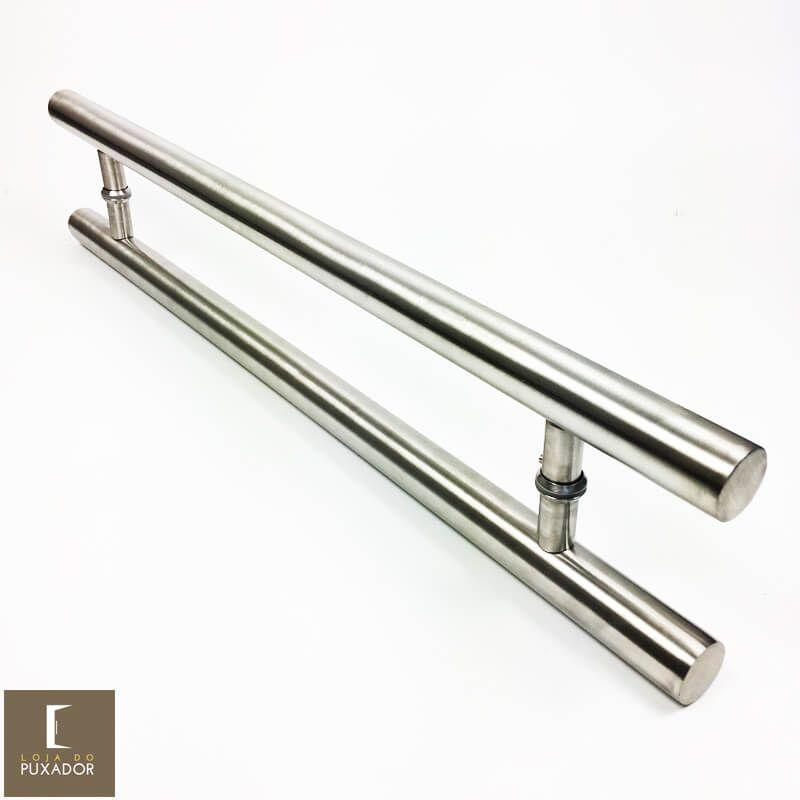 Puxador Para Portas Duplo AÇO INOX ESCOVADO (PLENO)   - Loja do Puxador