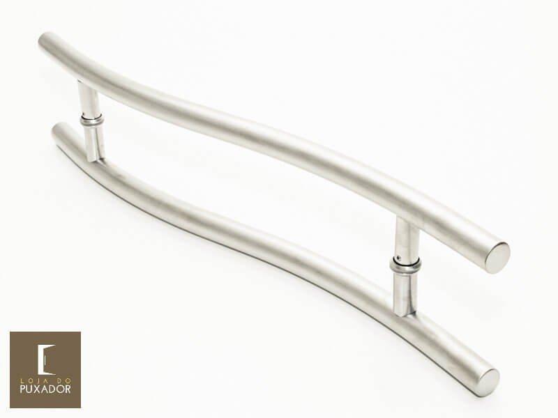 Puxador Para Portas Duplo AÇO INOX ESCOVADO (SAFIRA). Para portas Pivotante /Madeira /Vidro/Alumínio .