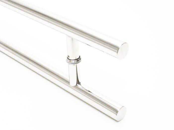 Puxador Portas Duplo Aço Inox Polido Soft 1,2 m para portas: pivotantes/madeira/vidro temperado/porta alumínio e portões   - Loja do Puxador