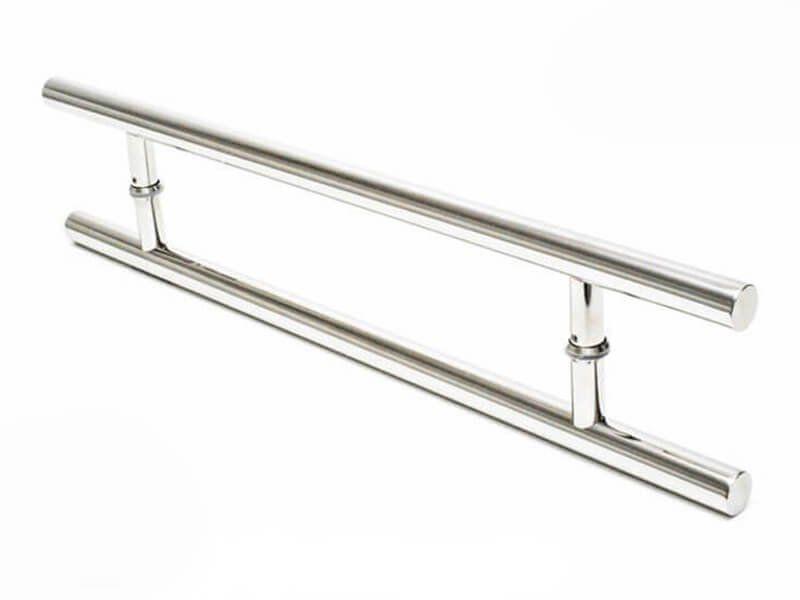 Puxador Portas Duplo Aço Inox Polido Soft 1 m para portas: pivotantes/madeira/vidro temperado/porta alumínio e portões   - Loja do Puxador