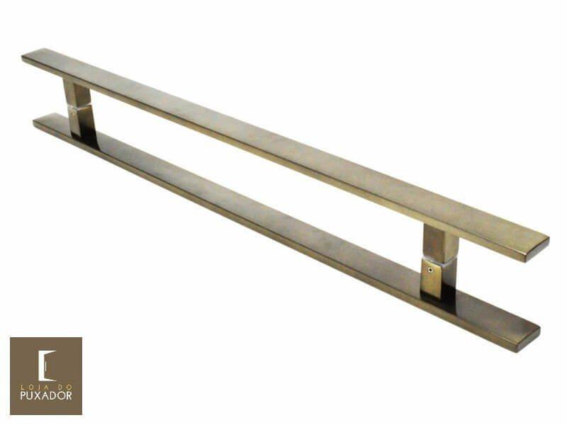Puxador Para Portas Duplo AÇO INOX  OURO VELHO ANTIQUE (CLEAN). Para portas Pivotante /Madeira /Vidro/Alumínio .