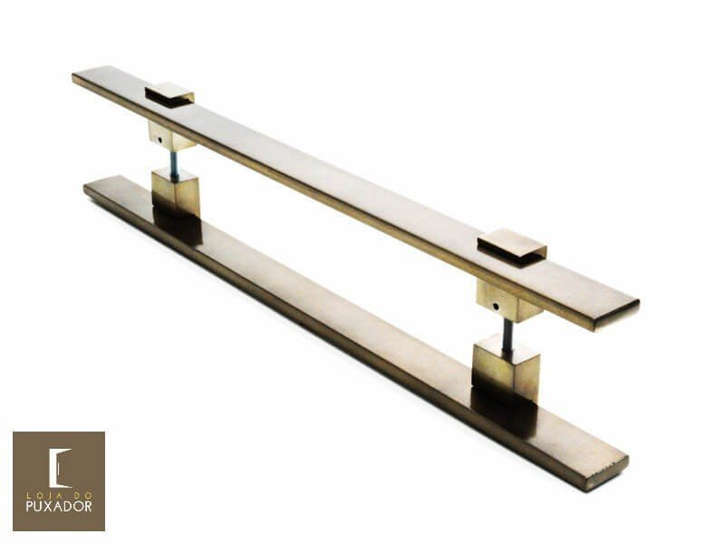 Puxador Para Portas Duplo AÇO INOX  OURO VELHO ANTIQUE (LUMA). Para portas Pivotante /Madeira /Vidro/Alumínio .