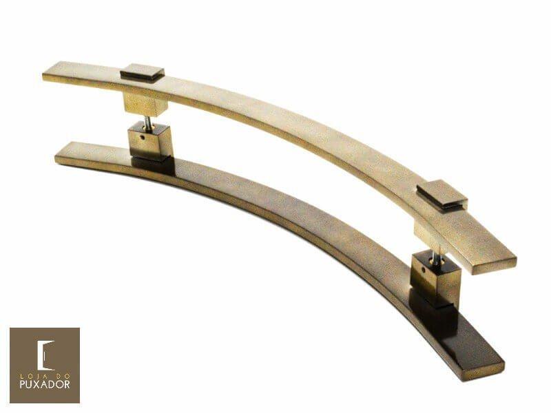 Puxador Para Portas Duplo AÇO INOX OURO VELHO ANTIQUE (PAOLA). Para portas Pivotante /Madeira /Vidro/Alumínio .