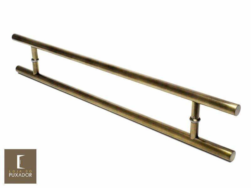Puxador Para Portas Duplo AÇO INOX OURO VELHO ANTIQUE (SOFT). Para portas Pivotante /Madeira /Vidro/Alumínio .