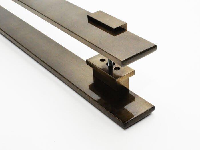 Puxador Para Portas Duplo AÇO INOX  OURO VELHO ANTIQUE (TAURUS). Para portas Pivotante /Madeira /Vidro/Alumínio .  - Loja do Puxador