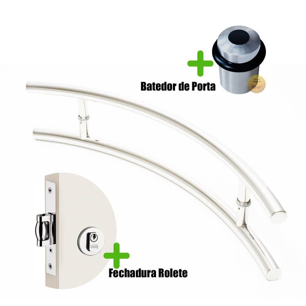 Puxador Para Portas Duplo curvo c AÇO INOX POLIDO (BELÍSSIMA) + Batedor porta Polido + Fechadura Rolete inox polido  - Loja do Puxador