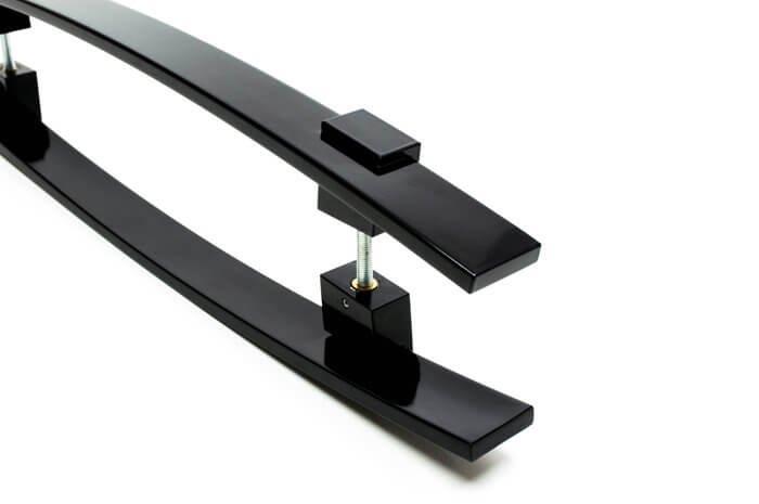 Puxador Para Portas Duplo AÇO INOX PRETO EPOXI  (ALBA).   - Loja do Puxador