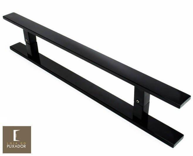 Puxador Para Portas Duplo AÇO INOX PRETO EPOXI (CLEAN) Para portas Pivotante /Madeira /Vidro/Alumínio .
