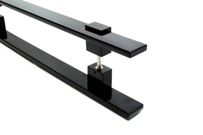 Puxador Para Portas Duplo AÇO INOX PRETO EPOXI  (LUMA).  - Loja do Puxador