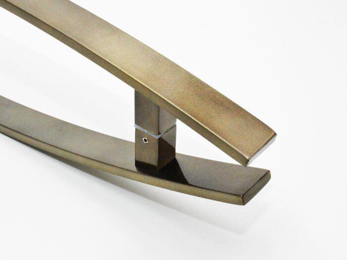 Puxador Para Portas Duplo INOX Antique Ouro Velho (LUGUI) Tam. 80 CM. Para portas Pivotante /Madeira /Vidro/Alumínio.  - Loja do Puxador