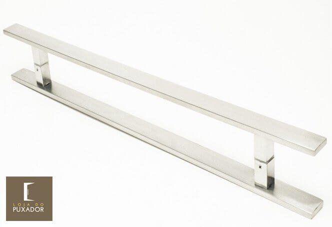 Puxador Para Portas Duplo INOX ESCOVADO (CLEAN) Tam. 40 CM. Para portas Pivotante /Madeira /Vidro/Alumínio.  - Loja do Puxador
