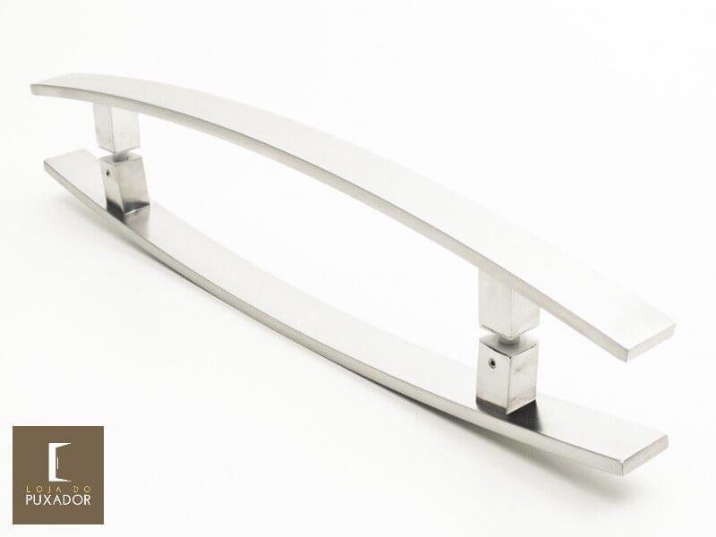 Puxador Para Portas Duplo INOX ESCOVADO (LUGUI) Tam. 80 CM. Para portas Pivotante /Madeira /Vidro/Alumínio.  - Loja do Puxador