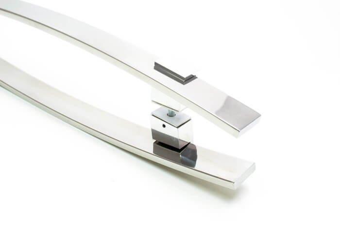 Puxador Para Portas Duplo INOX POLIDO (ALBA) Tam.1MT. Para portas Pivotante /Madeira /Vidro/Alumínio.  - Loja do Puxador