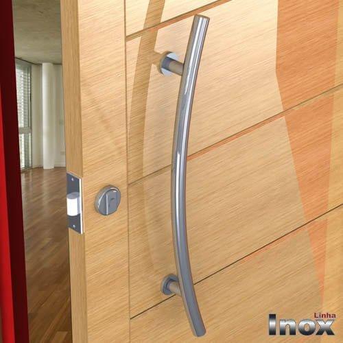 Puxador Para Portas Duplo INOX POLIDO (BELÍSSIMA) Tam. 60 CM. Para portas Pivotante /Madeira /Vidro/Alumínio.  - Loja do Puxador