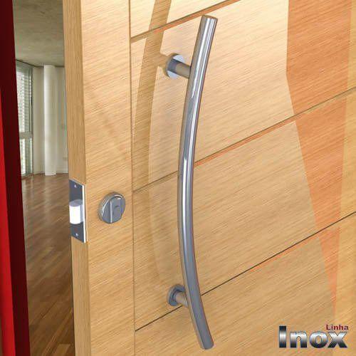 Puxador Para Portas Duplo INOX POLIDO (BELÍSSIMA) Tam. 80 CM. Para portas Pivotante /Madeira /Vidro/Alumínio.  - Loja do Puxador